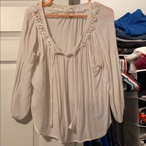 Long sleeve white baggy dressy top, with lace.
